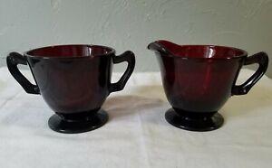 Anchor Hocking Royal Ruby Red Glass Creamer and Sugar Bowl