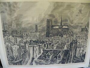 DECARIS ALBERT- 1901-1988 - ESTAMPE - LES TOITS DE PARIS- 45x59CM- TBE