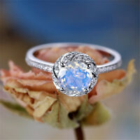 Elegant 925 Silver Women's Wedding Rings Round Cut White Sapphire Ring Size6-10