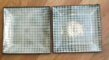 Threshold Stoneware Bamboo Pattern 2 Small Salad Plates Excellent Condition 8""