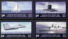 India 2011 MNH 4v, President Fleet Review, Fighter Plane, Naval Ships, Submarine