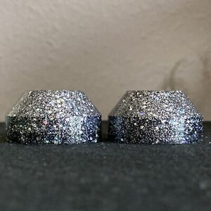 2x Record Adapter Single Puck 45 rpm Anthracite & Motley Silver Glitter Dots