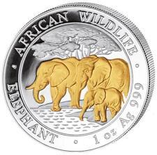 2013 Somalia Elephant 100 Shillings Solid Fine .999 Silver Gold 1oz Coin
