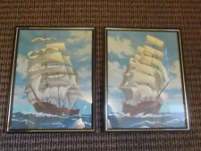 """Lot of 2 Paint By Number Tall Sailing Ship Framed Pictures 11.25"""" by 14.25"""""""