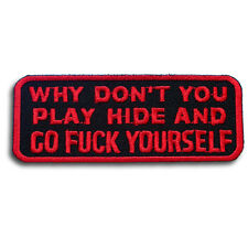 Why Don't You Play Patch Iron on Biker Rider Vest Motorcycle Sticker Funny Club