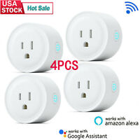4PCS Smart Plug Wifi Outlet Swtich with Amazon Alexa Google Home Remote Socket