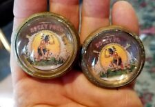 54-23 pair vintage glass domed rosettes Rocky Ford Indian Scout BEAUTY