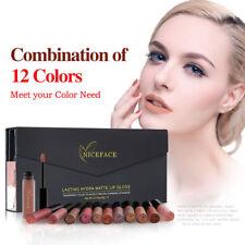 12Colors Niceface Liquid Lip gloss Set Matte Moisturizing Waterproof Gift Case