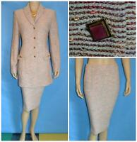 St John Couture Knits Pink Jacket Skirt L 10 12 2pc Suit Black Cream Multicolor