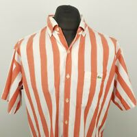 Lacoste Mens Vintage Shirt 43 XL SHORT! Short Sleeve Red Regular Fit Striped