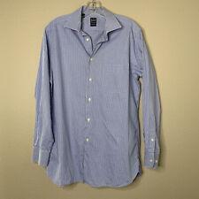 Ike Behar Dress Shirt Long Sleeve Button Up Mens 15 34/35 120s two ply