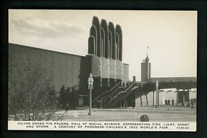 World's Fair postcard Chicago 1933 IL C.R. Childs Co Social Science Hall 7048-63