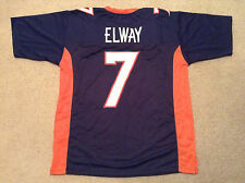 UNSIGNED CUSTOM Sewn Stitched John Elway Blue Jersey - Extra Large