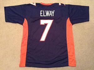 UNSIGNED CUSTOM Sewn Stitched John Elway Blue Jersey - Extra Large