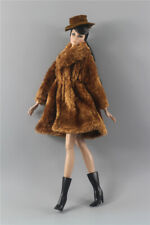 3in1 Fashion Outfit light brown Winter fur Coats Outfit+boot+hat For 11.5in.Doll