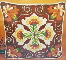 "Needlepoint KIT-""PERSIAN FLORAL"" Decorator Pillow-14""x14"" w /back,piping,zipper"