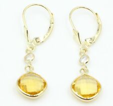 Citrine & White Topaz Dangle Earrings,14K Yellow Gold with Leverbacks