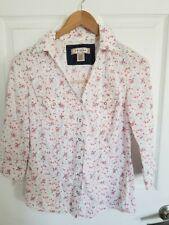 Arizona Jeans Co Snap Button Shirt Top Juniors Medium White Floral 3/4 Sleeve