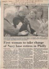 Louise Wilmot Autographed Newspaper Article 1994 First Women Command Naval Base
