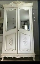 French Style Double Armoire White Solid Wood Shabby Chic Wardrobe