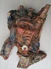 MARKA GALLERY INDIAN CHIEF WARRIOR 1998, IMPRESSED MARK, HAND PAINTED.