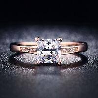 EG_ HK- Wedding Ring Women Cubic Zirconia Gold Plated Square Cut Bague Present F