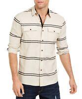 Sun + Stone Mens Shirt Cream Beige Size 2XL Striped Ivan Button Down $45 060
