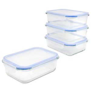 Airtight Food Storage Container 4x Glass Tubs with Snap Locking Lids M&W