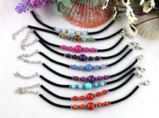 9PCS Mixed Colour Beaded Velvet Childrens bracelets #21590