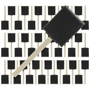 """40 Pack - 2""""  Foam Sponge Paint Brush Set Wood Handle Craft Touch Up Stain"""
