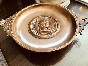 Antique Vintage Bronze Tazza F. Barbedienne French Napoleon 3rd Plate Tazza Tray