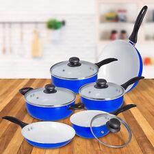 10 Pcs Nonstick Ceramic Cookware Set Pots Sauce Fry Pan W/ Glass Lid -Blue White