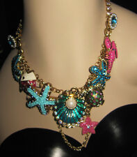 BETSEY JOHNSON JEWELS OF THE SEA CLAM TURTLE FISH STATEMENT NECKLACE
