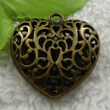 free ship 28 pieces bronze plated heart charms 36x35mm #4135