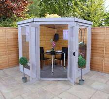 7x7 Premium Corner Summerhouse   Wooden Shiplap Garden Room with Double Doors