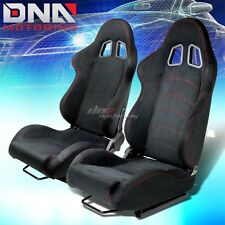 PAIR OF BLACK SUEDE RECLINABLE RACING SEAT/SEATS W/ RED STITCH+MOUNTING SLIDERS