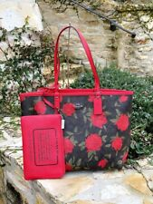 NWT Coach Roses Signature  Floral Reversible City tote+Wristlet