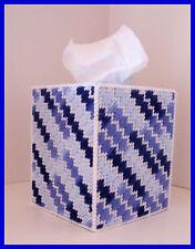 NAVY BLUE  WHITE NURSERY HANDMADE PLASTIC CANVAS TISSUE BOX COVER TOPPER