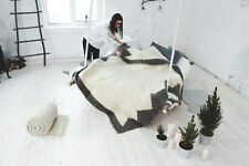 Wool Blanket White 100% Pure Wool Bed Cover Livingroom Sofa Throw Home Decor