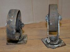 "2 heavy duty 7"" swivel casters railroad cart safe industrial steampunk tool lot"