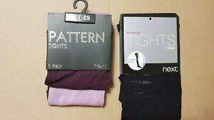 NEXT tights size M /  L black  shredded design / purple half price