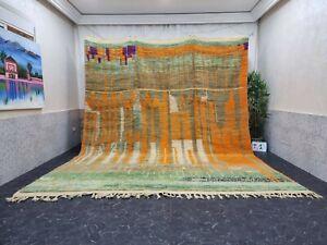 "Moroccan Large Boujaad Handmade 10'3""x13' Berber Striped Orange Faded Green Rug"