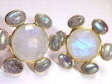 Glowing Moonstone and Labradorite Large Yellow Gold over Sterling Earrings