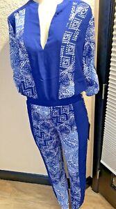 NWTS  BCBGMAXAZRIA Jumpsuit ANTON Batik print Blue V Neck Sz xS  Orig $268 XGB2