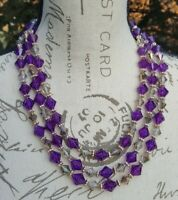 """Vintage Costume marked West Germany Necklace 21"""" Purple Lucite Beads AB beads"""
