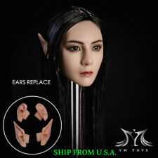 "1/6 Fairy Elf Female Head Sculpt Detachable Ears Suntan For 12"" PHICEN Figure"