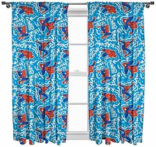 "MARVEL SPIDER MAN POP ART 66"" x 72"" PENCIL PLEAT CURTAINS CHARACTER BLUE WHITE"