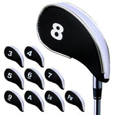 Andux 10pcs Golf Iron Putter Head Covers Headcover Set with Zipper Black/White