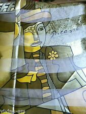 "Glanz Motiv Tuch Stola Satin ""FRAU"" PICASSO EdelSchal 102 x 102 grün gold NEU #6"