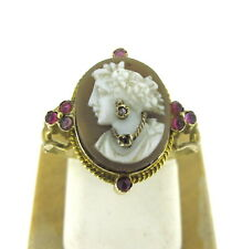 Antique 10k Yellow Gold Ladies Portrait Ruby Cameo Ring Size 6